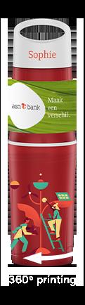 BE O bottle rood bedrukte waterfles relatiegeschenk voor ASN Bank