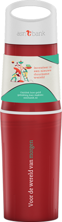 Red BE O drinking bottle printed with ASN bank logo