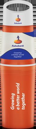 Oranje BE O bottle drinkfles bedrukt met Rabobank logo
