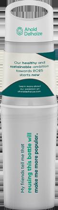 Witte BE O bottle drinkfles bedrukt met Ahold Delhaize logo